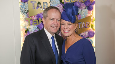 Bill and Chloe Shorten in the Tabcorp marquee at Tuesday's Melbourne Cup.