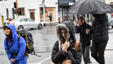 Melburnians dealing with the wild weather in Collingwood.