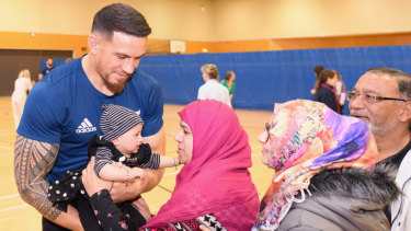 Community-minded: Sonny Bill Williams meets fans following a skills session with the Canterbury Resilience Foundation in Christchurch.