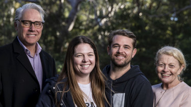 Speaking out: Steve Folkes' daughter Hayley Shaw and son Dan Folkes with Professor Michael Buckland, lefft, and Bulldogs chairwoman Lynne Anderson, right.