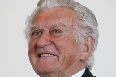 Bob Hawke attending parliament in 2016 for the launch of a book about Labor leader Anthony Albanese.