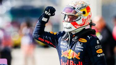 Max Verstappen celebrates victory in Texas.
