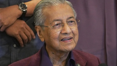 Malaysian Prime Minister Mahathir Mohamad speaks during a press conference in Putrajaya, Malaysia.
