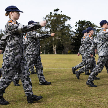New recruits marching in a Covid-19 socially distanced drill formation during the New Entry Officers' Course at HMAS Creswell, Jervis Bay.