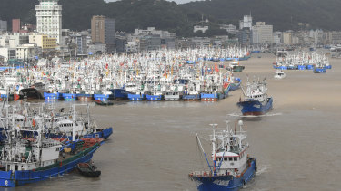 Fishing boats are docked at the Shenjiamen Fishing Port in Zhoushan city, China, in preparation for the typhoon Lekima.