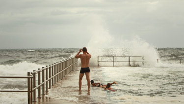 Collaroy Beach was closed due to severe conditions, meaning some stayed in the ocean pool.