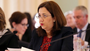 Queensland Premier Annastacia Palaszczuk speaks during estimate hearings on Tuesday.