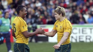 Amigos: Courtley Bell y James O'Connor en la Copa Mundial de Rugby 2011 en Nueva Zelanda.