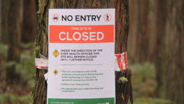 A coronavirus public closure notice in Victoria's Mt Cole State Forest.