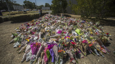 The makeshift public memorial in Bundoora, where Aiia Maasarwe's body was found last week.