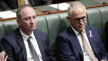 Barnaby Joyce and Malcolm Turnbull in Parliament in February.