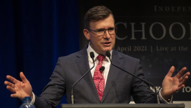 Federal Education Minister Alan Tudge speaks at the <i>Age</i> Schools Summit on Tuesday.