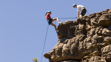 A pair of rock climbers in the Grampians' Grand Canyon.
