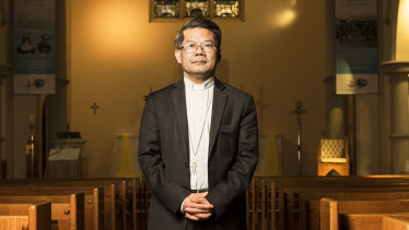 Vincent Long Van Nguyen, pictured at Mary McKillop Chapel in North Sydney, has been the Bishop of Parramatta since 2018.