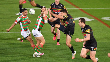 Cameron Murray moments before a high shot on Nathan Cleary during a match last year.