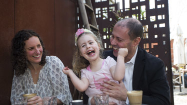 Mr Frydenberg returned to the cafe with his wife Amie and daughter Gemma, 4.