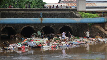 Rubbish left behind by receding flood waters from the Sunter River in East Jakarta.