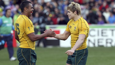 Amigos: Kurtley Beale and James O'Connor at the 2011 Rugby World Cup in New Zealand.