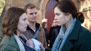 Mummy dearest: Laura Carmichael, Michael Sheasby and Jessica De Gouw in The Secrets She Keeps.