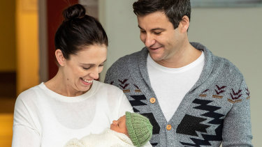 New Zealand Prime Minister Jacinda Ardern and her partner Clarke Gayford with their new baby daughter after the birth.