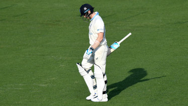 A dejected Steve Smith leaves the field after being dismissed for a five-ball duck.