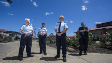 The Dame Phyllis Frost Center relies on female officers to operate. Pictured from left: prison officer Jill Buckley, Prison officer Toa, operations manager Joy McDonald and prison officer Tafeamaalii.