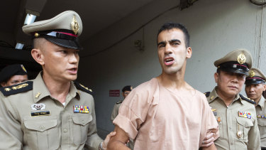 Hakeem al-Araibi leaving court in Bangkok, Thailand.