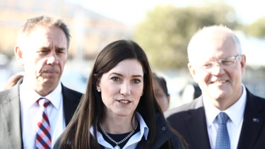 Liberal MP Nicolle Flint on the campaign trail with Scott Morrison during the 2019 election, when she was subjected to a bullying campaign.