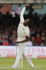 England's Jofra Archer bowls during the second day of the second Ashes Test.