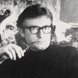 Tom Gleghorn, pictured on his exhibition invitation from Kym Bonython's Hungry Horse Art Gallery, Sydney, 1966