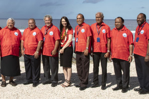 Nauru President Baron Waqa, second from left, poses with New Zealand Prime Minister Jacinda Ardern, fourth from left and other Pacific leaders for a group photo during the Pacific Islands Forum in Nauru in 2018.