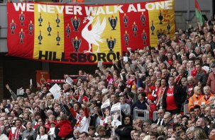 Fans mark the 20th anniversary of the Hillsborough Stadium disaster at Anfield Stadium in Liverpool, April 2009.