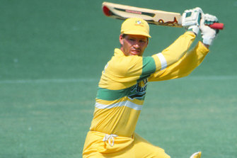 Dean Jones in action for Australia in a one-day international.