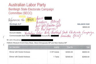 Invoice from Labor Party to property developer John Woodman for a fundraiser with Daniel Andrews.
