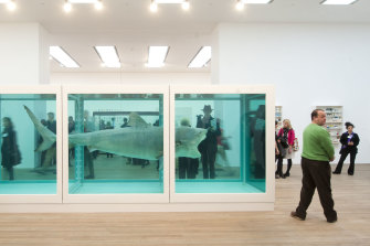 Hirst's (in)famous shark in formaldehyde, The Physical Impossibility of Death in the Mind of Someone Living, commissioned by adman Charles Saatchi in 1992.