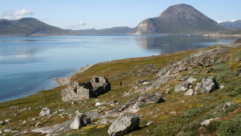 The ruins of the Hvalsey Church, part of an abandoned Viking colony, in southern Greenland.