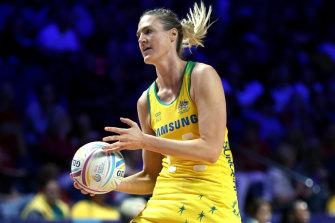 Australia's Caitlin Bassett during the semi-final against the Proteas.