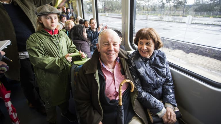 Keith Power and Roslyn Wilson, grew up in the Mernda area, were among  thousands to ride the first public trains to Mernda in 59 years.