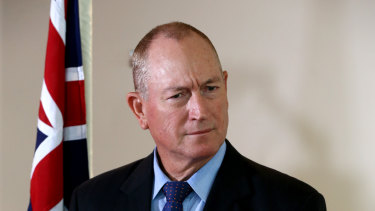 Queensland Senator Fraser Anning speaking in Brisbane on Wednesday.