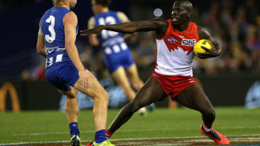 Drawcard: Aliir Aliir has signed a new contract with Sydney.