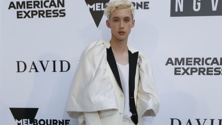Pop singer Troye Sivan arrives on the white carpet for the second annual NGV Gala.