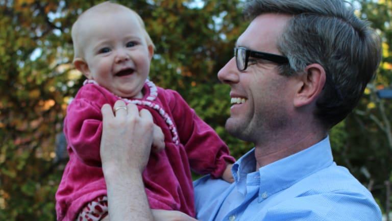 NSW Treasurer Dominic Perrottet and his daughter Harriet.