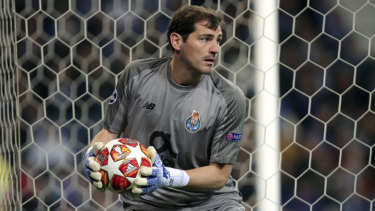 Recovering: File photo of goalkeeping great Iker Casillas, who suffered a heart attack while training with Porto.