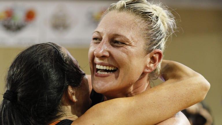Australian basketball great Suzy Batkovic celebrates after Townsville won the 2017-18 WNBL title.