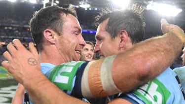 James Maloney with Mitchell Pearce after NSW won this year's Origin series.