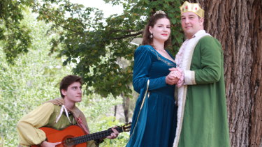 From left: Elliot Cleaves as Minstrel, Alex McPherson as Winnifred and Isaac Gordon as Dauntless in <i>Once Upon a Mattress.</i>