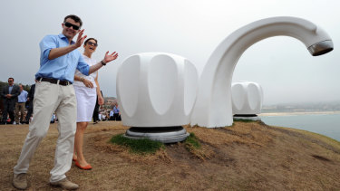 Princess Mary of Denmark and Prince Frederik of Denmark admire the view near the fibreglass artwork Who Left The Tap Running? by Australian artist Simon McGrath  during a visit to Sculpture by the Sea in 2011.