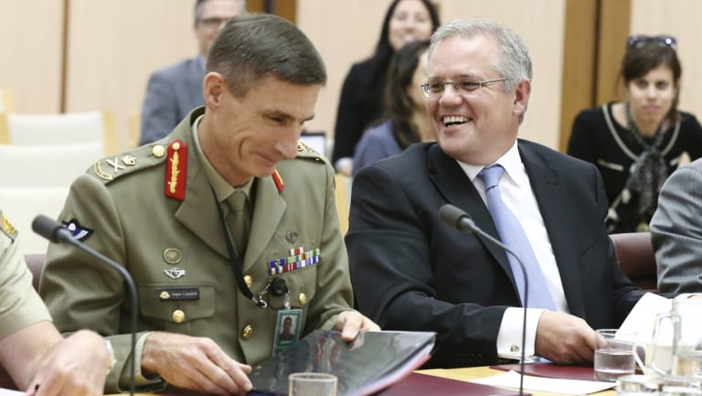 Lieutenant-General Angus Campbell and then immigration minister Scott Morrison during a Senate estimates hearing in 2014.