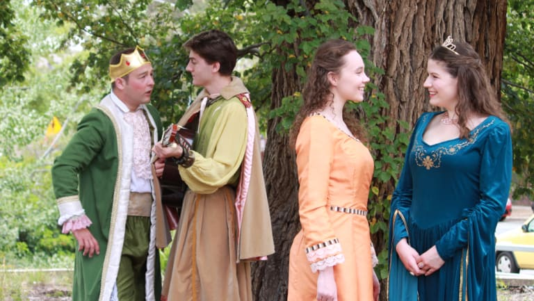 From left: Isaac Gordon as Dauntless, Elliot Cleaves as Minstrel, April Hand as Lady in Waiting and Alex McPherson as Winnifred in <i>Once Upon a Mattress.</i>
