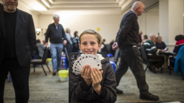 It's an ace pastime: Taydon is believed to be the youngest person to compete in a major Australian bridge event.